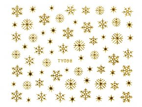 Samolepky na nechty 3D - Snehové vločky zlaté - TY098