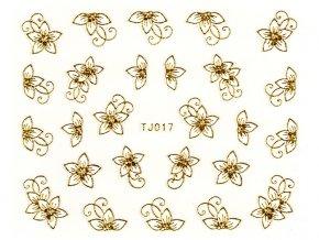 Samolepky na nechty - bielo-zlatý kvet