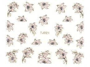 Samolepky na nechty - ružovo-strieborný kvet
