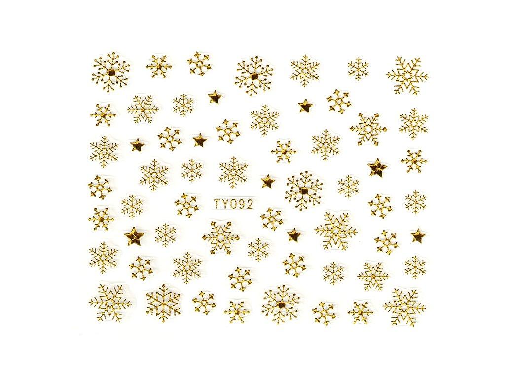 Samolepky na nechty 3D - Snehové vločky zlaté - TY092