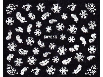 Samolepky na nehty 3D - Sněhové vločky SMY53