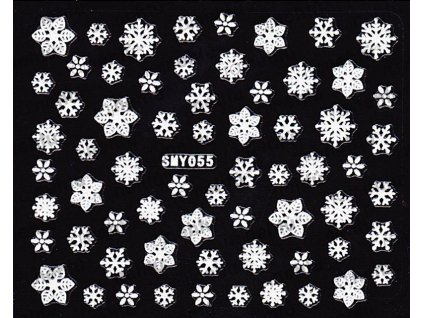 Samolepky na nehty 3D - Sněhové vločky SMY55
