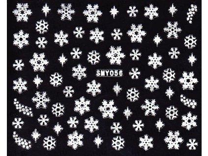 Samolepky na nehty 3D - Sněhové vločky SMY56