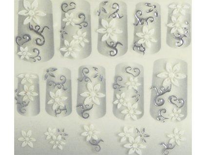 Samolepky na nehty 3D - stříbrné S4