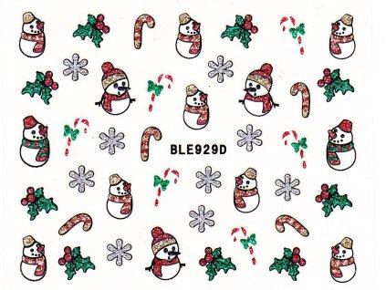 Samolepky na nehty glitrové Vánoce - 929D