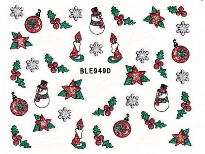 Samolepky na nehty glitrové Vánoce - 949D
