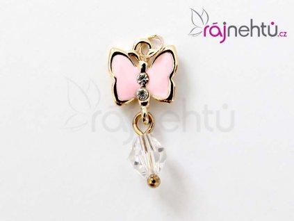piercing motýl růžový
