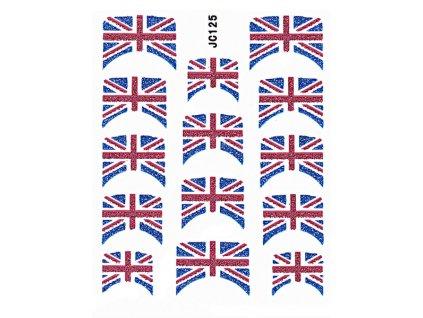 Samolepky na nehty 3D - Anglická vlajka