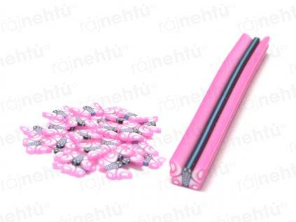 FIMO zdobení - tyčinka, motiv motýl - růžový