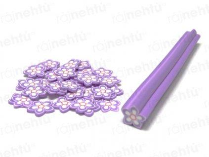 FIMO zdobení - tyčinka, motiv kytka hvězdice - fialová