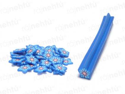 FIMO zdobení - tyčinka, motiv kytka hvězdice - modrá