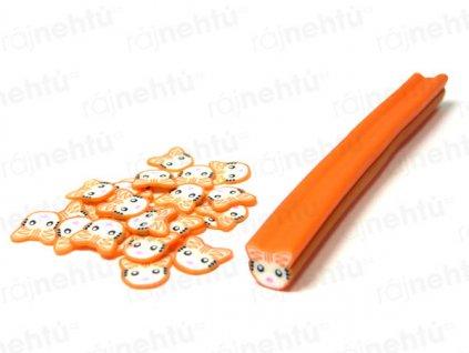 FIMO zdobení - tyčinka, motiv kočka - oranžová