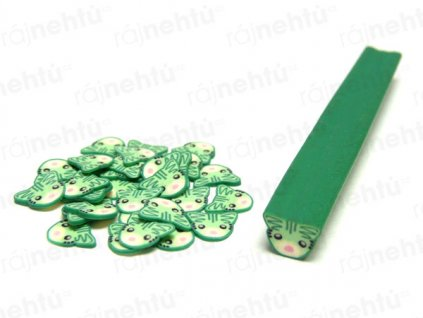 FIMO zdobení - tyčinka, motiv kočka - zelená