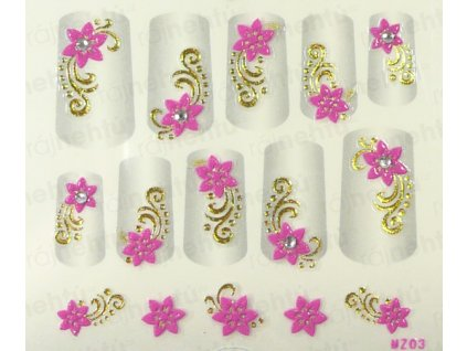 Samolepky na nehty 3D - růžové RZ1