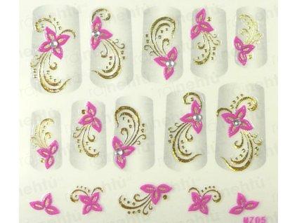Samolepky na nehty 3D - růžové RZ2