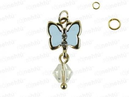 Ozdoba nehtu - Piercing motýl světle modrý