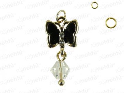 Ozdoba nehtu - Piercing motýl černý