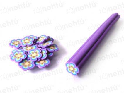 FIMO zdobení - tyčinka, motiv kytička - fialová