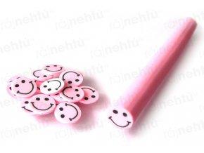 FIMO zdobení - tyčinka, motiv smile - růžový