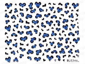Samolepky na nehty - modré, srdíčka