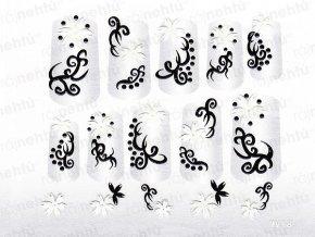 Samolepky na nehty 3D - černobílé CB14