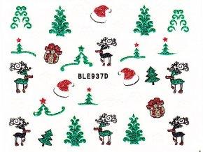 Samolepky na nehty glitrové Vánoce - 937D