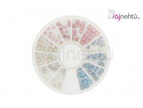 Perleťové kamínky v bílé, růžové a modré barvě ve třech velikostech.