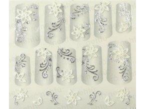 Samolepky na nehty 3D - stříbrné S8