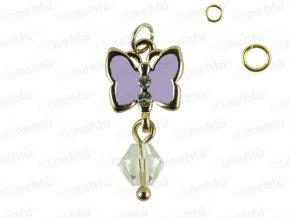 Ozdoba nehtu - Piercing motýl fialkový