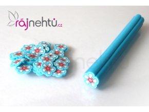 FIMO zdobení - tyčinka, motiv kytička - světle modrá