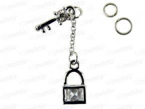 Ozdoba nehtu - Piercing zámek a klíč