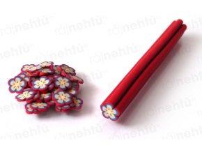 FIMO zdobení - tyčinka, motiv kytička - červená