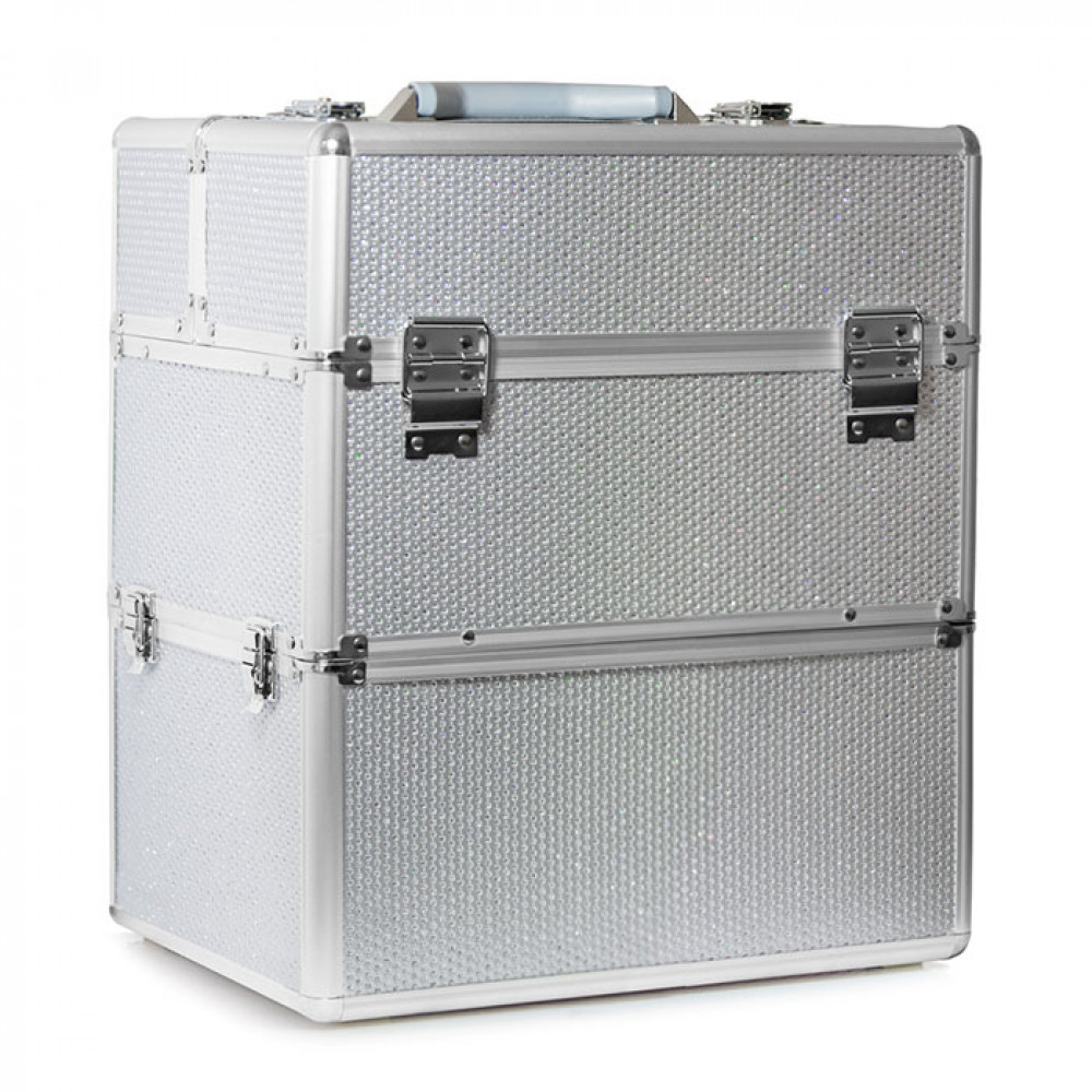 Kosmetický kufřík SENSE 2v1 - glitter, stříbrný