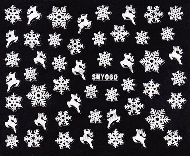Samolepky na nehty 3D - Sněhové vločky SMY60
