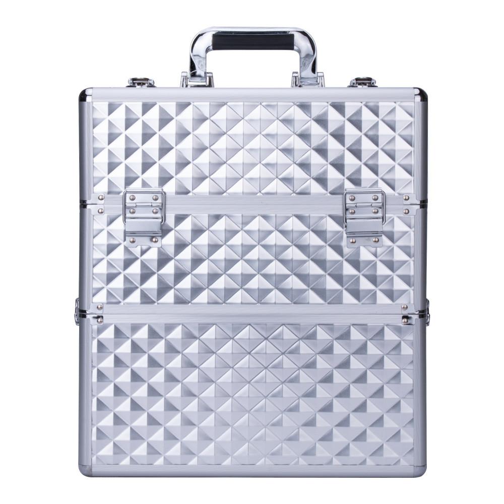 Kosmetický kufřík SENSE 2v1 - 3D diamonds, stříbrný