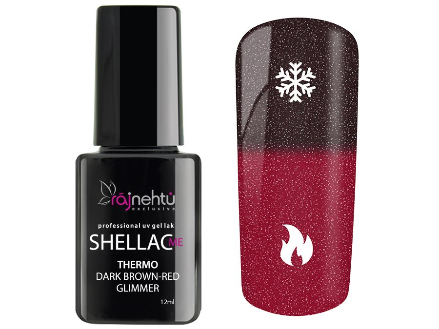 Ráj nehtů UV gel lak Shellac Me Thermo 12ml - Dark Brown-Red Glimmer