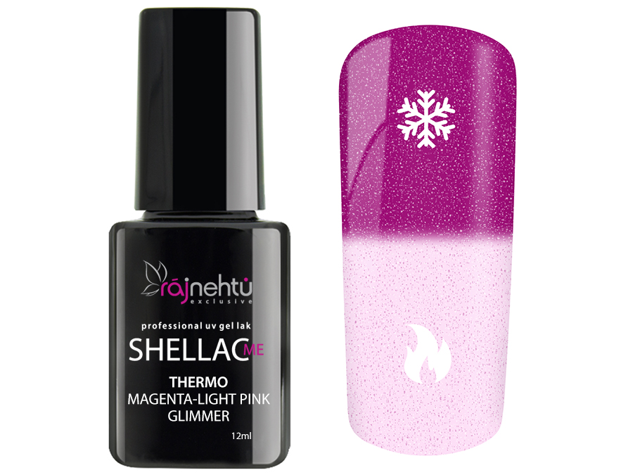 Ráj nehtů UV gel lak Shellac Me Thermo 12ml - Magenta-Light Pink Glimmer