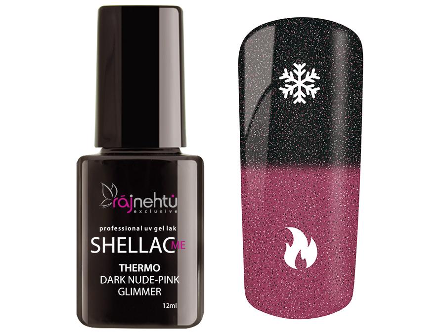 Ráj nehtů UV gel lak Shellac Me Thermo 12ml - Dark Nude-Pink Glimmer