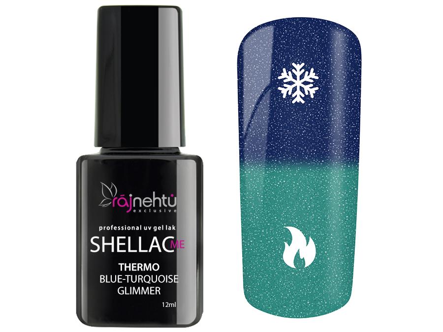 Ráj nehtů UV gel lak Shellac Me Thermo 12ml - Blue-Turquoise Glimmer