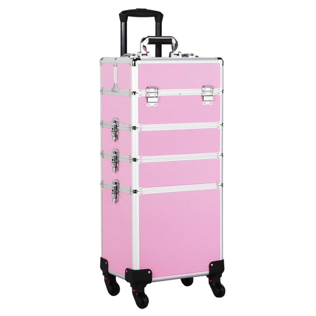 Ráj nehtů Kosmetický kufr LUXURY 4v1 - růžový
