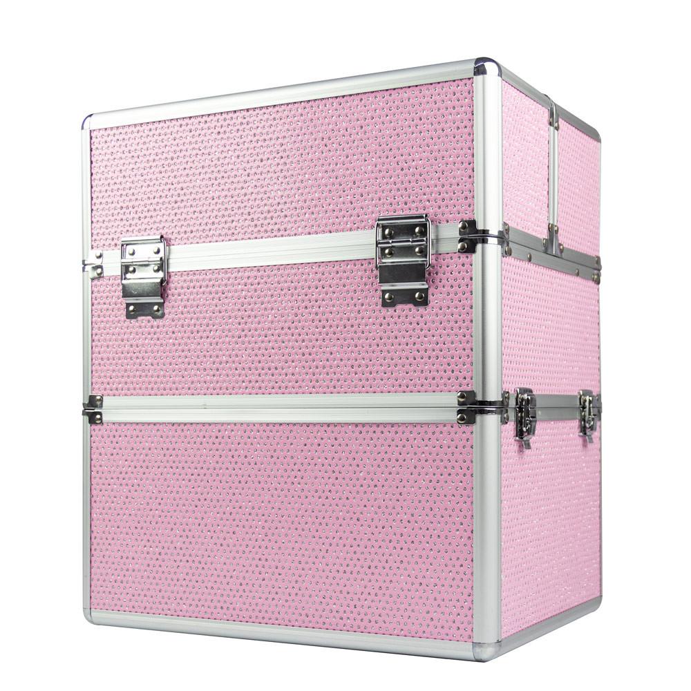 Kosmetický kufřík SENSE 2v1 - glitter, růžový