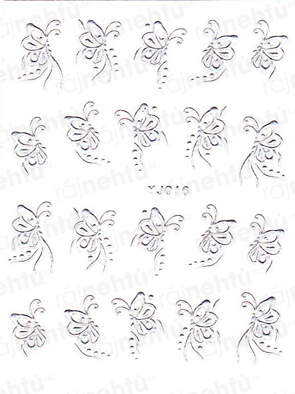 Samolepky na nehty - stříbrné 016