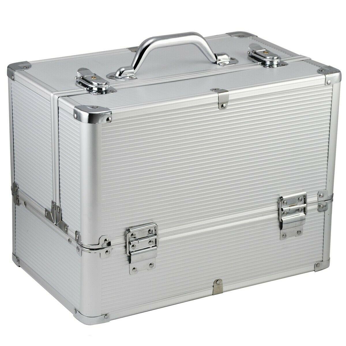 Ráj nehtů Kosmetický kufr LUXURY - XL, stříbrný