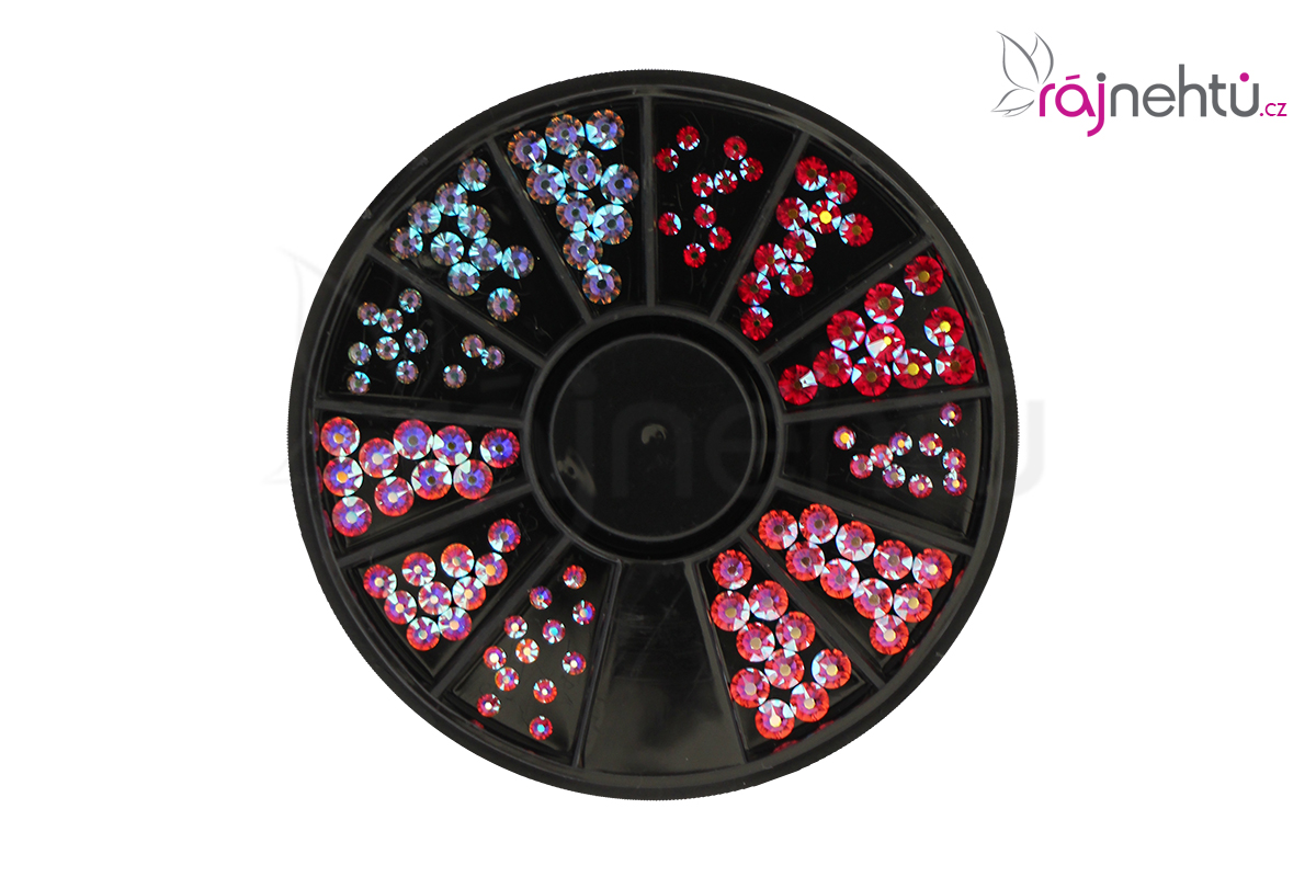Ráj nehtů Broušené kamínky v karuselu - barevné, AB mix