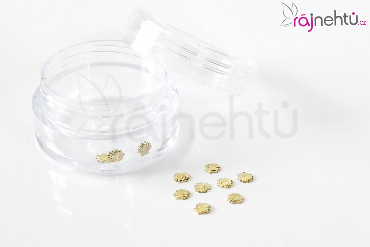 Zdobení na nehty kovové - mušličky zlaté