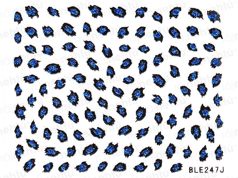 Samolepky na nehty - modré, leopard