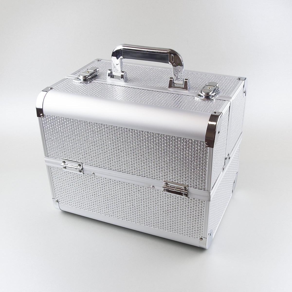 Ráj nehtů Kosmetický kufřík SENSE - glitter, stříbrný