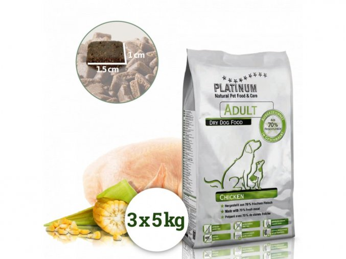 Platinum Natural Adult Chicken - KUŘECÍ  15 kg