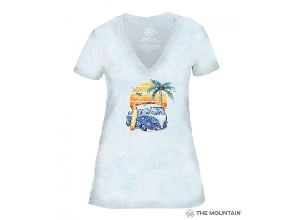Dámské tričko véčko - Retro Surf - Modré