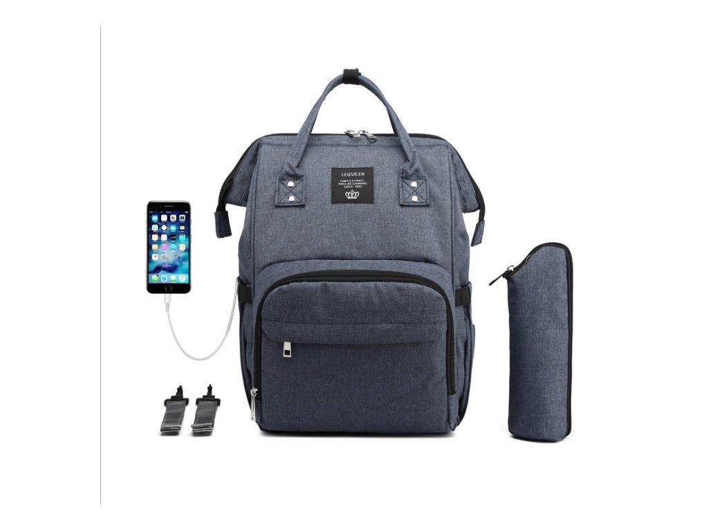 Multifunkční batoh na kočárek se zabudovaným USB portem - modrý